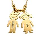 Pingente Menino & Menina banhado a Ouro